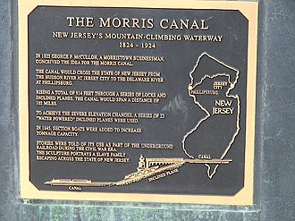 Morris Canal - Commemorative plaque on a sculpture in Jersey City dedicated to the Morris Canal