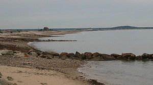 Plymouth Beach, Massachusetts - The Plymouth Barrier Beach, as seen from Plymouth Beach village.