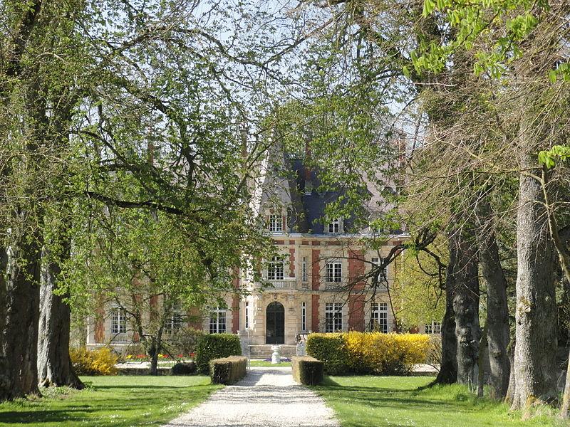 Le château de Pocancy (France) et son allée, vus depuis l'entrée du domaine.