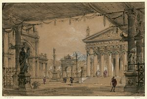 Polyeucte (opera) - Design sketch by Philippe Chaperon for act 3 (1878)