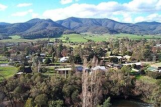 Porepunkah Town in Victoria, Australia