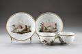 Porslinskoppar med fat, från 1700-talets slut - Hallwylska museet - 93766.tif