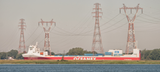 Port of Montreal - Ship passing under wires heading to the Port of Montreal