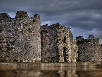 Cardiff Roman Fort - Portchester (Portus Adurni) is the best preserved Roman fort north of the Alps. The D-shaped towers are typical of 3rd-century of Roman forts.