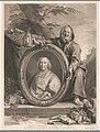 Portret van kardinaal André-Hercule de Fleury in een ovale lijst vastgehouden door Diogenes in een landschap, RP-P-OB-74.516.jpg