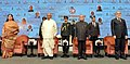 Pranab Mukherjee at the inauguration of the Counter Terrorism Conference - 2016, organised by the India Foundation, at Jaipur, in Rajasthan. The CEO of Afghanistan, Dr. Abdullah Abdullah, the Governor of Rajasthan.jpg