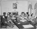 President Truman and his cabinet in the Cabinet Room of the White House. Clockwise around table from left, Secretary... - NARA - 199652.tif