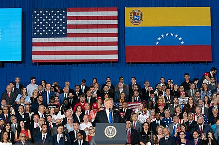 On February 18, 2019 Trump gave a speech about the crisis in Venezuela President Trump Delivers Remarks to the Venezuelan American Community (47145953601).jpg