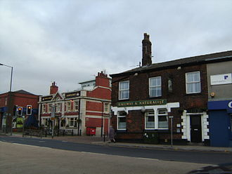 Prestwich - The White Horse (left) and the Railway and Naturalist (right), Prestwich Village