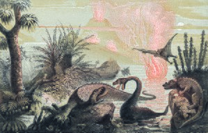 Paleoart - The Primitive World by Adolphe François Pannemaker (1857)
