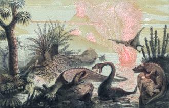 Paleoart - The Primitive World by Adolphe François Pannemaker (1857)