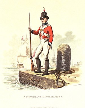 New South Wales Marine Corps - The uniform of the British Marines. Engraving by Joseph Stadler, 1815.