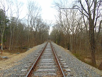Providence and Worcester Railroad - Providence and Worcester Railroad line within Salt Rock State Campground in Sprague, Connecticut