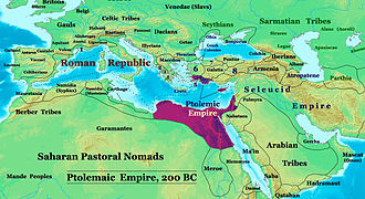 Ptolemaic Kingdom - Ptolemaic Empire in 200 BC. Also showing neighboring powers.
