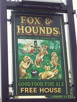 Pub sign for the Fox and Hounds, Bullamoor - geograph.org.uk - 496186