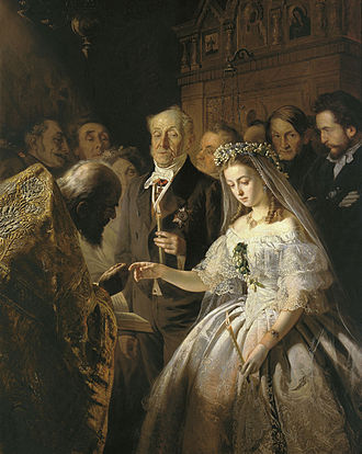 Christian views on marriage - Orthodox betrothal depicted by Vasily Vladimirovich Pukirev, 1862.