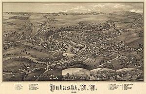 Pulaski, New York - Bird's eye view of Pulaski, New York, 1885.
