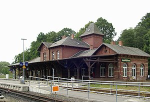 Putbus - Putbus train station, served by the famous historical steam-powered railway that is nicknamed Rushing Roland