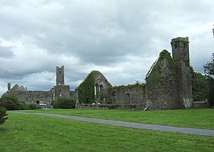 Quin, County Clare - The ruins of the former parish church, with Quin Abbey beyond