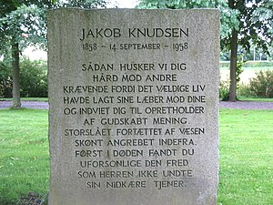 Jakob Knudsen - Gravestone for Jakob Knudsen in Rødding