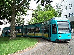Trams in Frankfurt am Main - Frankfurt am Main type R tram no. 021 at Ernst-May-Platz, Bornheim, 2007.