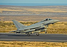 A Eurofighter Typhoon FGR4 landing at RAF Mount Pleasant in 2009.