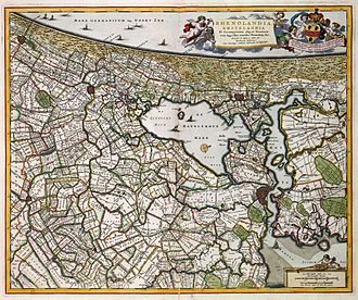 "Trekschuit - Map from 1681 showing the Haarlemmertrekvaart as connecting Haarlem to Amsterdam, and the Leidsevaart connecting Haarlem to Leiden. At Halfweg the two bodies of water ""Haarlemmermeer"" and ""Het Ye"" meet at Gemeenlandshuis Zwanenburg."