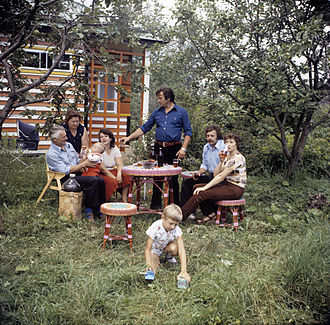 Dacha - The family of a worker of the Krasny Khimik plant in Leningrad at their dacha house, 1981