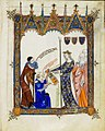 Ramon Llull, with his disciple Thomas le Myesier, presenting three anthologies to the Queen of France and Navarre.jpg
