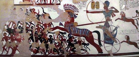 Ramesses II in his war chariot, charging the Nubians Ramses II charging Nubians.jpg