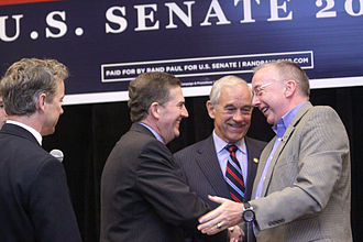 Jim DeMint - DeMint campaigning in Erlanger, Kentucky with Congressman Ron Paul of Texas for Rand Paul of Kentucky, and Congressman Geoff Davis of Kentucky in 2010.
