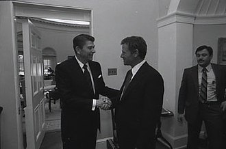 Jim Inhofe - Inhofe greeting President Ronald Reagan in 1982