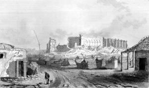 1835 Concepción earthquake - Drawing of the remains of the Cathedral in Concepción