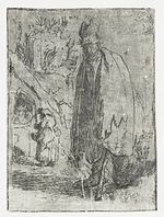 Rembrandt, A Beggar in a Tall Hat and Long Cloak, with a Cottage and Two Figures in the Background, circa 1628, Rijksmuseum Amsterdam.jpg