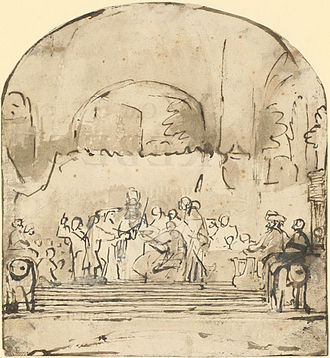 The Conspiracy of Claudius Civilis - Funeral ticket sketch (see text), October 1661 or later.