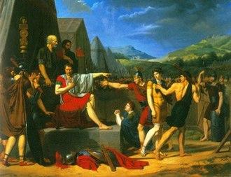 """Titus Manlius Imperiosus Torquatus - Image: Reproduction de """"Manlius Torquatus condamnant son fils à mort"""""""
