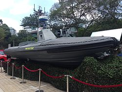 Republic of Singapore Navy Protector Unmanned Surface Vehicle on display at the National Museum of Singapore - 20140223.jpg