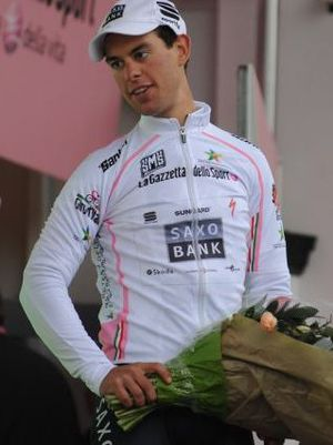 Richie Porte - Porte, in the white jersey of young rider classification leader, at the 2010 Giro d'Italia