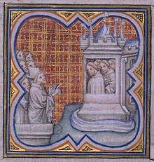 Robert Le Coq, dans une diatribe contre les officiers du roi.   Grandes Chroniques de France  .