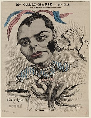 Robinson Crusoé - Célestine Galli-Marié as Vendredi; caricature by André Gill (1867)