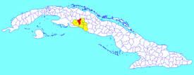 Rodas municipality (red) within  Cienfuegos Province (yellow) and Cuba