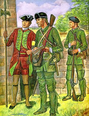 "Rogers' Rangers - Rogers' Rangers in their green, wool uniforms, during the French and Indian War, from the U.S. Army painting, ""To Range the Woods, New York, 1760"""