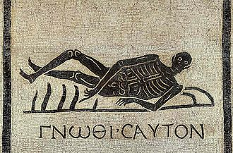 Know thyself - A memento mori mosaic from excavations in the convent of San Gregorio in Rome, featuring the Greek motto.
