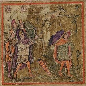 Ascanius Shooting the Stag of Sylvia - Vergilius Romanus, 5th-century, Vatican Library, Cod. Vat. lat. 3867, f 163 recto