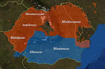 Dialetti romeni ( blu: gruppi meridionali; rosso: gruppi settentrionali )
