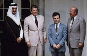 Abdul Halim Khaddam - Khaddam, as Minister of Foreign Affairs, with Prince Saud al Faisal, Ronald Reagan, and George Shultz in 1981