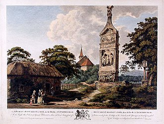 Igel - A Roman Monument at Igel, coloured engraving published by John Boydell from a painting by Edward Rooker