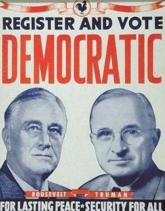 Article Two of the United States Constitution - In this 1944 poster, Franklin Roosevelt (left) successfully campaigned for a fourth term. He was the only President who served more than two terms.