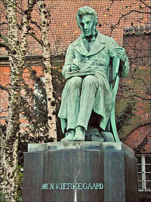 Four Upbuilding Discourses, 1844 - The Søren Kierkegaard statue in the Royal Library Garden og Slotsholmen in Copenhagen, Denmark