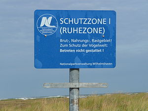 Lower Saxon Wadden Sea National Park - Notice board on the island of Juist